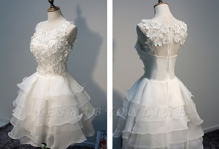 Short  Lace Sleeveless Lace-Appliques Hot Layers White Homecoming Dress