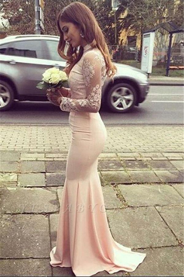 Mermaid Appliques Long-Sleeves High-Neck Glamorous Bridesmaid Dresses