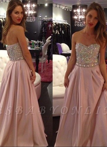 Crystals-Top Sweetheart-Neck Elegant Pink A-line Long Prom Dresses