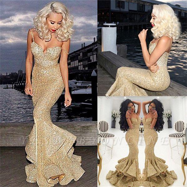 Ruffles-Skirt Gold Mermaid Side-Slit Sequins Spaghettis-Straps Prom Dresses