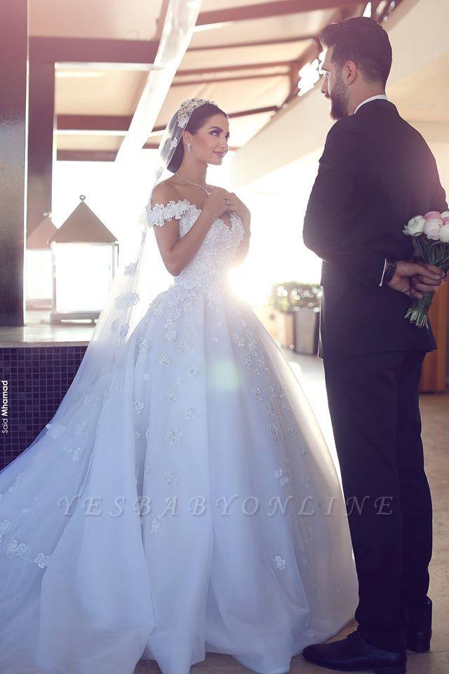 Glamorous Off-the-Shoulder Lace Wedding Dresses | Open Back Appliques Bridal Dresses