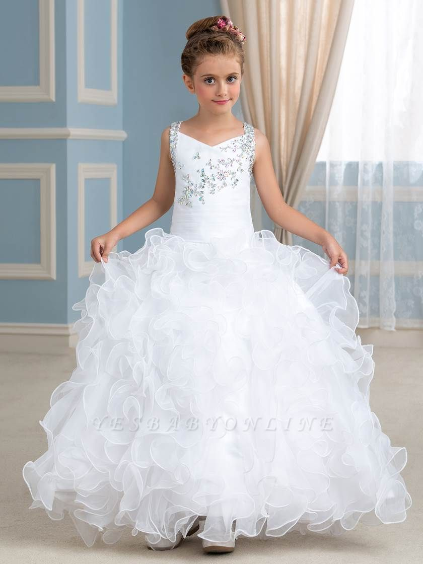 Cute Organza Ruffles Ball Gown Flower Girl Dress with Beadings