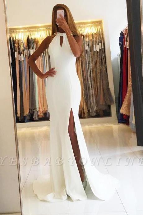 Sleeveless Halter Side-Slit Mermaid Open-Back Simple Evening Dresses