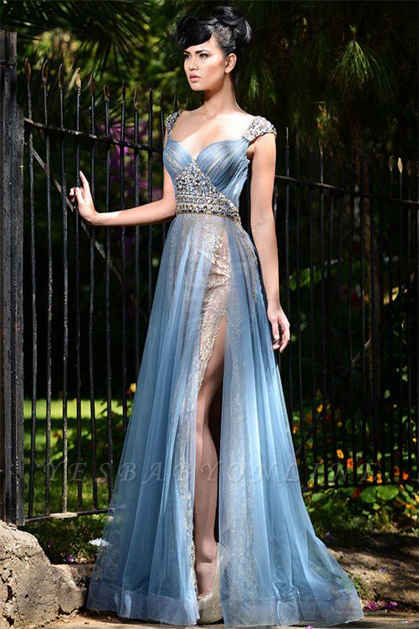 Elegant Blue Straps Long Evening Gowns | Tulle Crystal Side Slit Evening Dresses Cheap