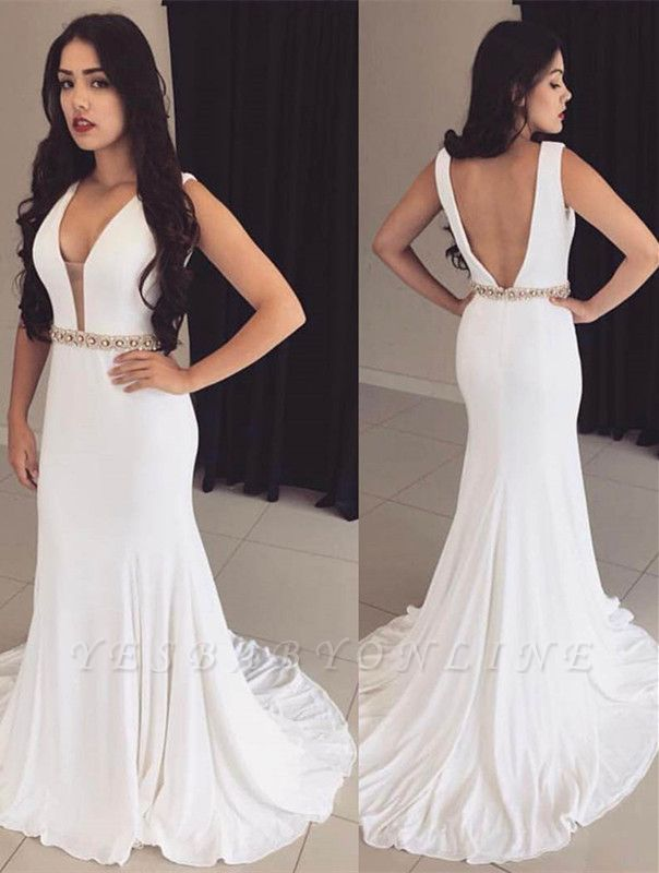 Crystals Sleeveless Bodycon White Modest Straps Prom Dress