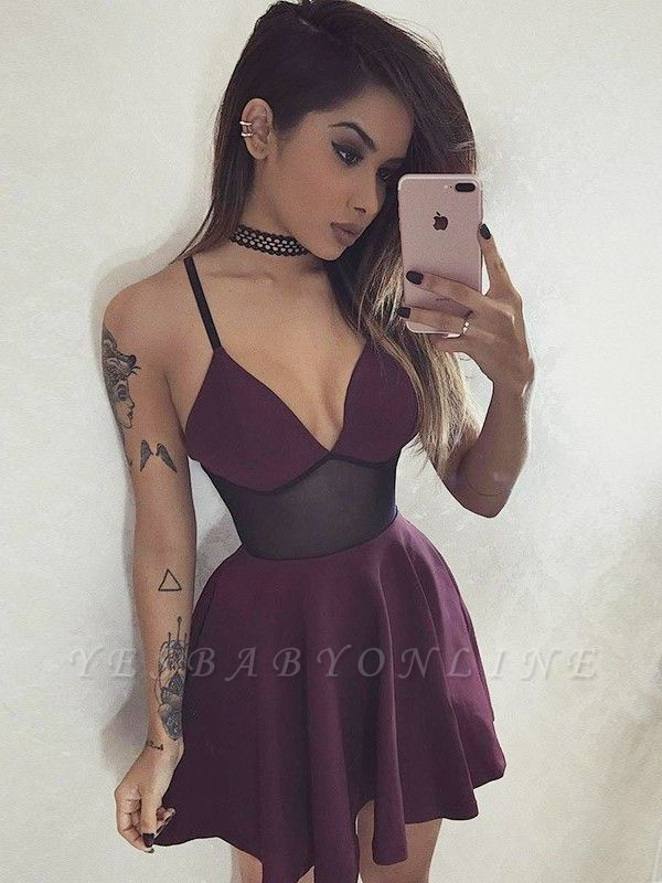 A-Line V-Neck Homecoming Dresses | Sexy Spaghetti Straps Short Cocktail Dress