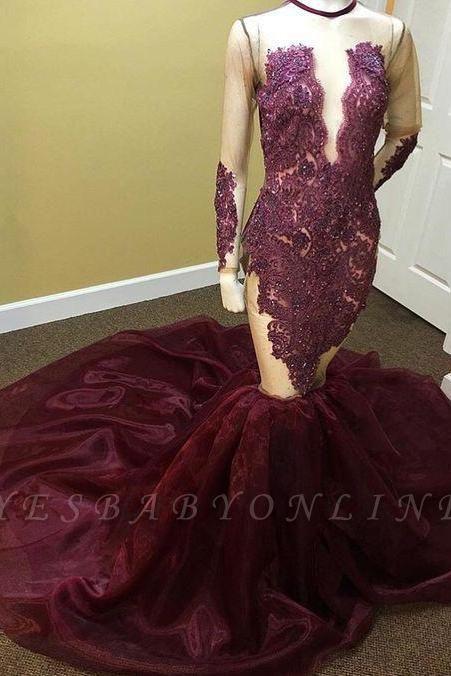 Long-Sleeves Mermaid Beadings Appliques Newest Prom Dress