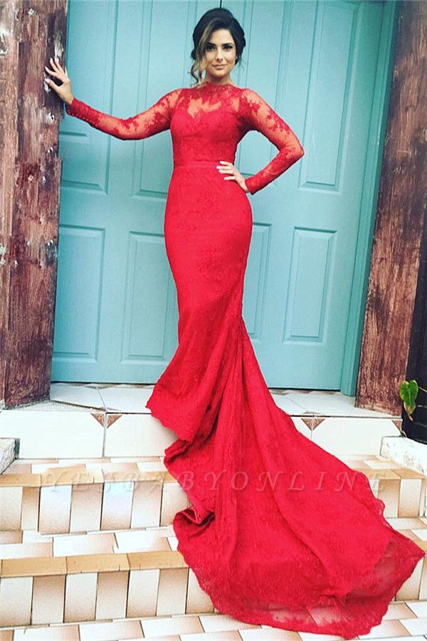 High-Neck Lace Long-Train Long-Sleeves Red Appliques Mermaid Evening Dresses