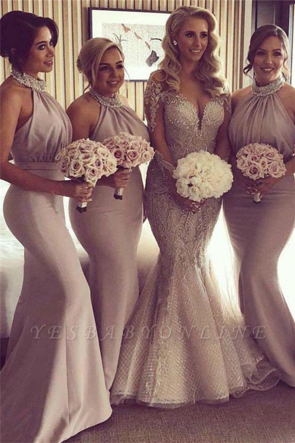 Stunning Halter Open Back Mermaid Bridesmaid Dresses | Elegant Wedding Guest Dresses