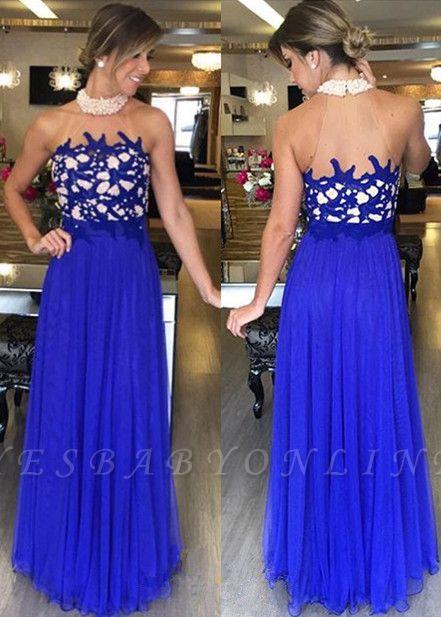 Halter  Gorgeous High-Neck Royal-Blue Beading Long Prom Dresses