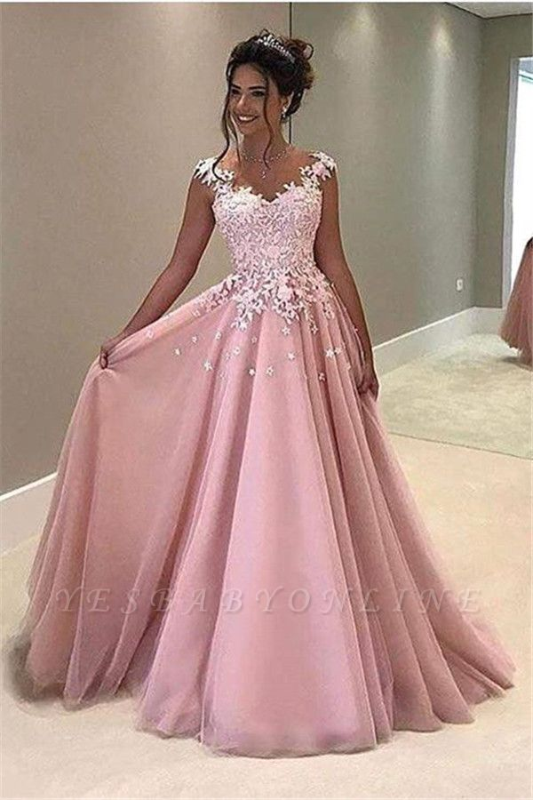 Elegant Pink Prom Dresses Lace Appliques Capped Sleeves A-line Evening Gowns