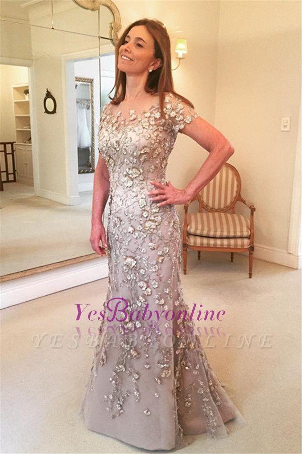 Glamorous Mermaid Short-Sleeves Appliques Evening Dress
