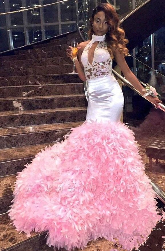Pink Mermaid Sleeveless Prom Dresses | High Neck Appliques Feathers Evening Gowns
