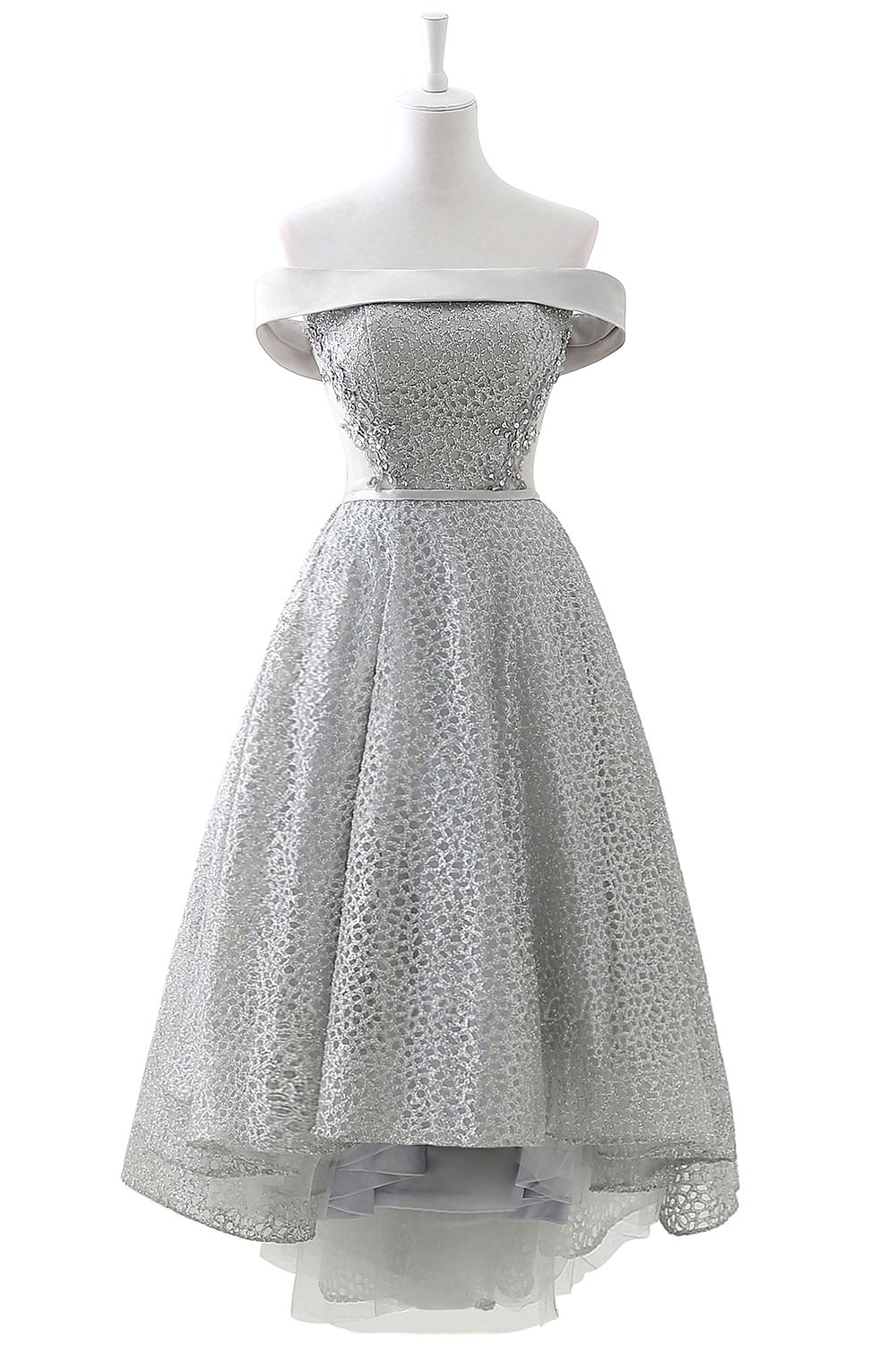 Chic Layers Off-the-Shoulder Lace Hi-Lo Silver Party Dresses