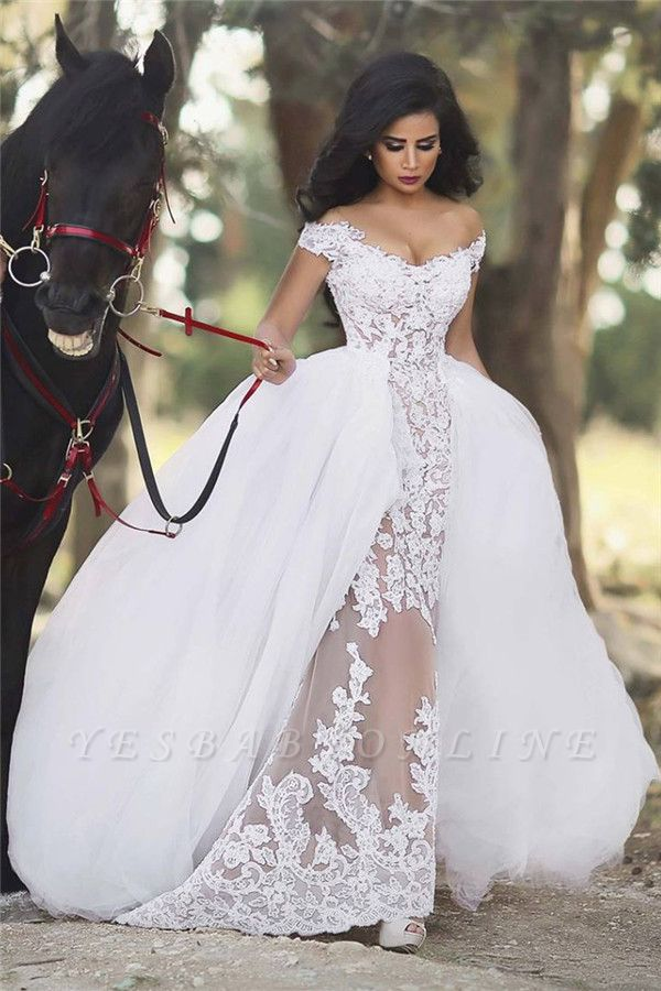 Sexy Cap Sleeve V Neck Lace Detachable Train Sheath Wedding Dresses