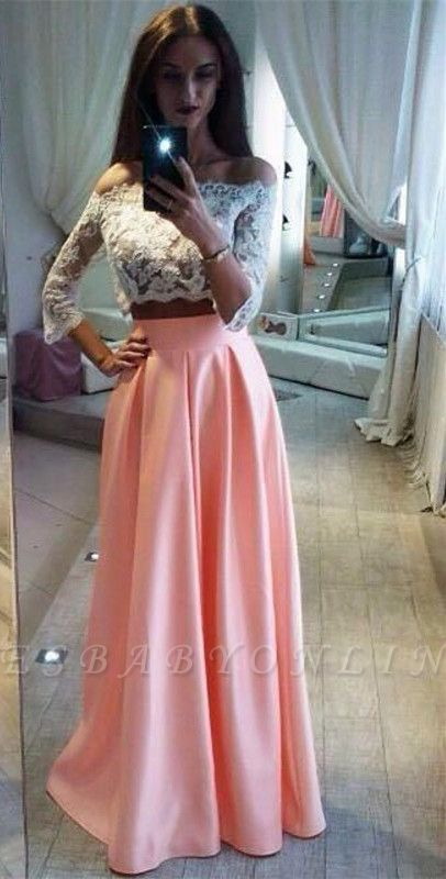 Lace A-Line Pink Elegant Two-Pieces Off-the-Shoulder Prom Dress