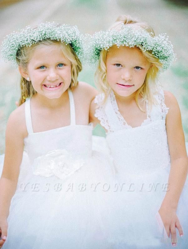 White Tulle Long Flower Girl Dress | White Lace Dress with Crossed Back BO8530