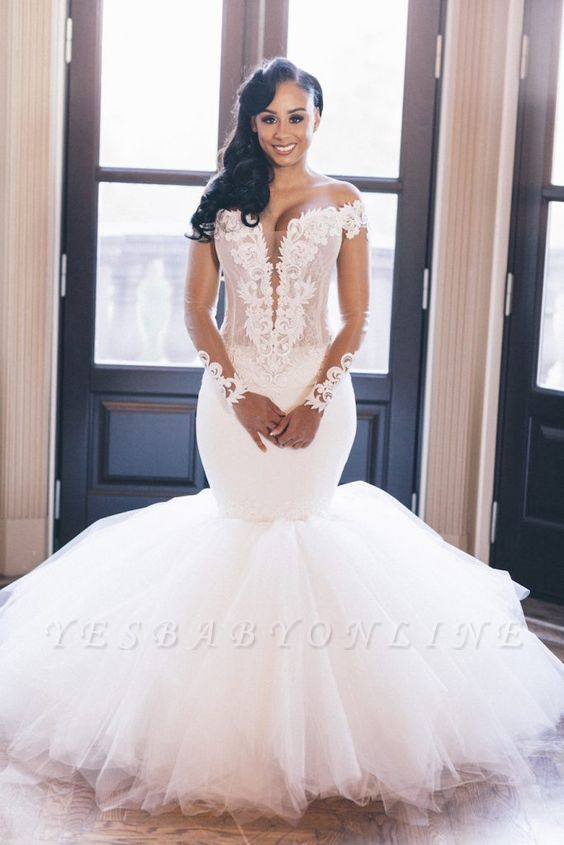 Chic Jewel Long Sleeve Applique Ruffles Fit And Flare Mermaid Wedding Dresses