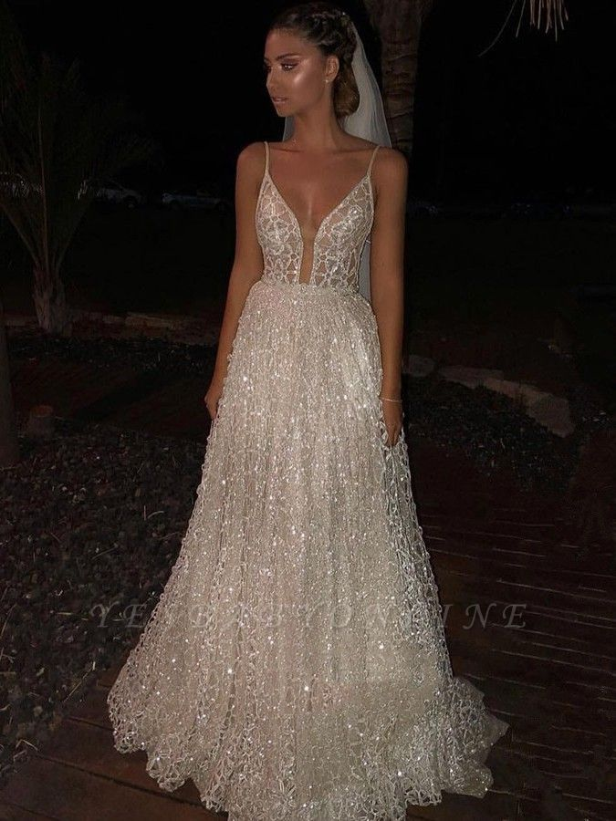 Glamorous A Line Sequins Wedding Dress Spaghetti Straps Long Lace Bridal Gowns Bc2481