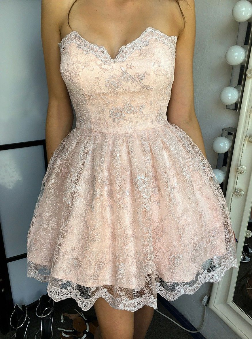 Elegant Sweetheart Homecoming Dresses | Sleeveless Lace-Up Cocktail Dresses