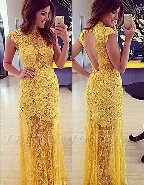 Modern Long High-Neck A-line Sleeveless Lace Yellow Prom Dress