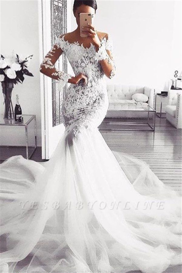Sexy Mermaid Lace Wedding Dresses | Glamorous Off Shoulder Long Sleeves Bridal Gowns