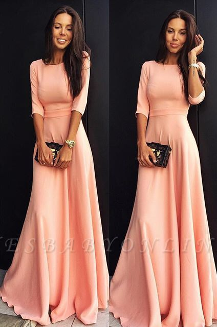 Jewel Elegant Chiffon A-line Half-sleeve Prom Dress