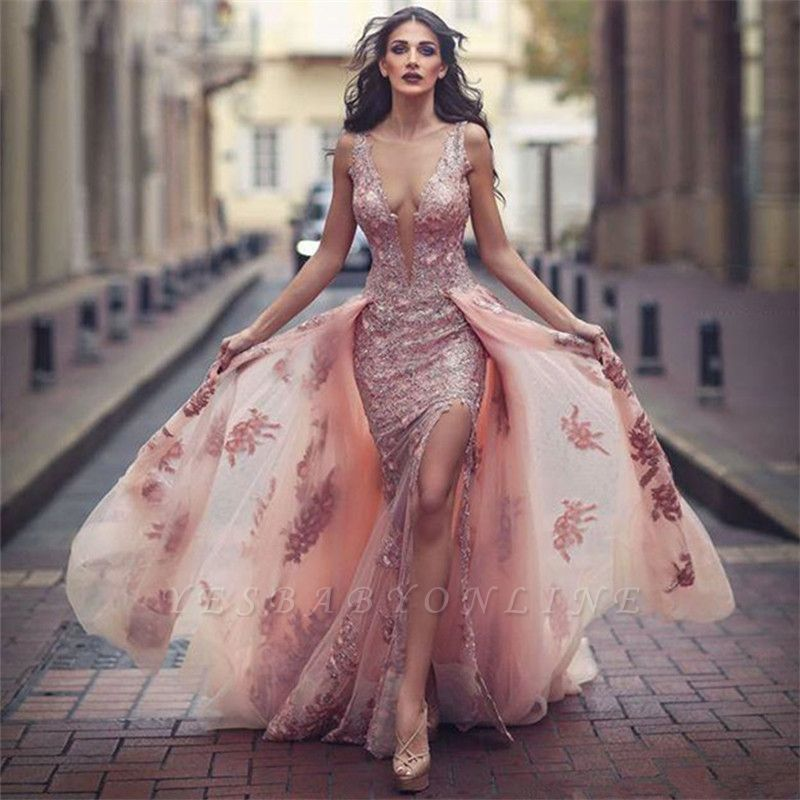 Lace Appliques V-neck Tulle Front Overskirt Slit Amazing Pink Evening Dress