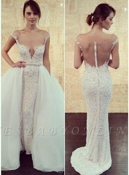 Cap-Sleeve Detachable Glamorous Long Mesh Pearls Beaded Wedding Dress