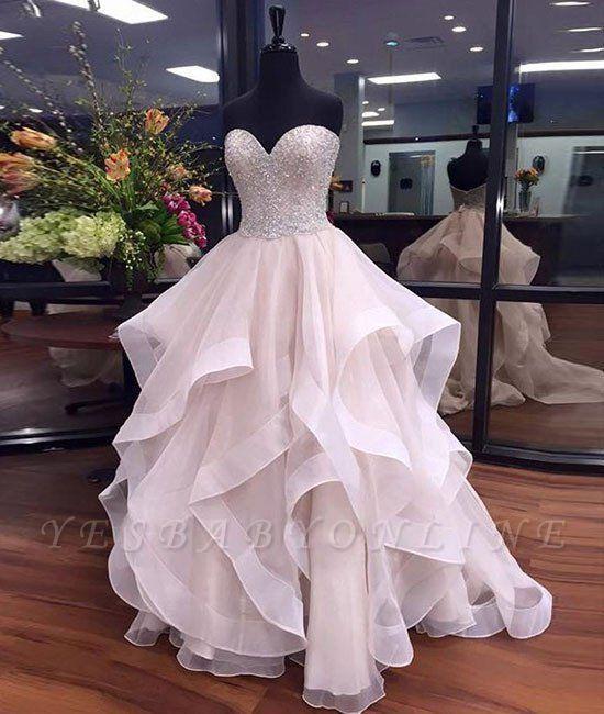 Tulle Elegant Sweetheart Floor-Length Ruffles Beadings Prom Dresses