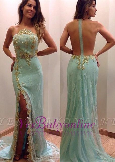 Mint Lace Mermaid Evening Dresses Side Slit Sexy Prom Dresses
