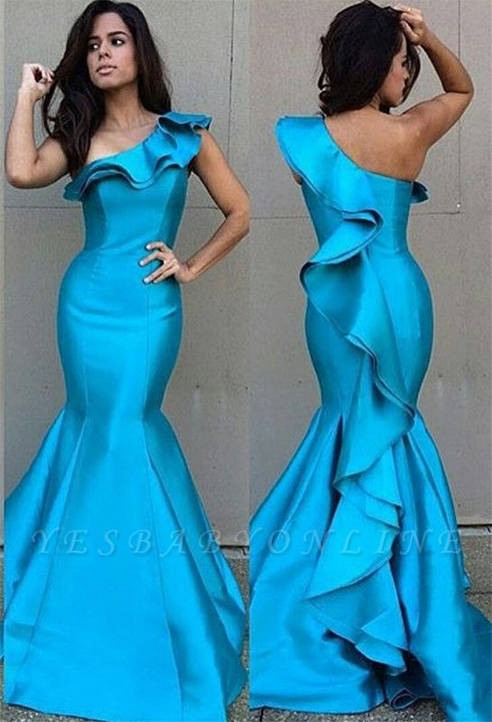 Blue Mermaid Prom Dresses One Shoulder Ruffles Tight Fitting Evening Gowns