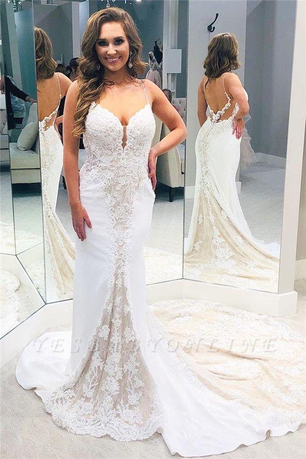 Spaghetti Strap Sweetheart Lace Sheath Wedding Dresses | Backless Chapel Train Bridal Gown