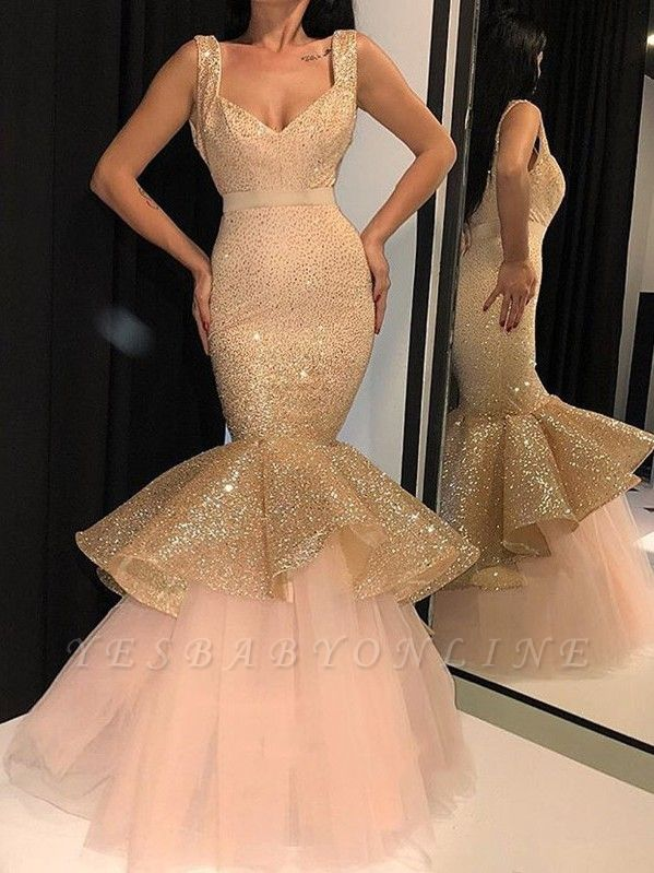 Glamorous Mermaid Sequins Prom Dresses | 2019 Sweetheart Ruffles Evening Gowns