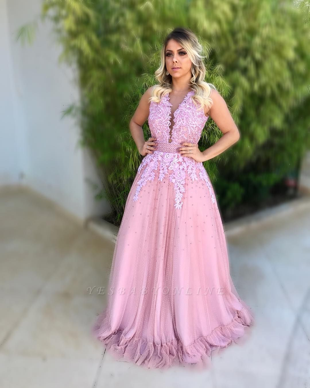 Dresses Sheath Long  Hot Pink Prom With Lace