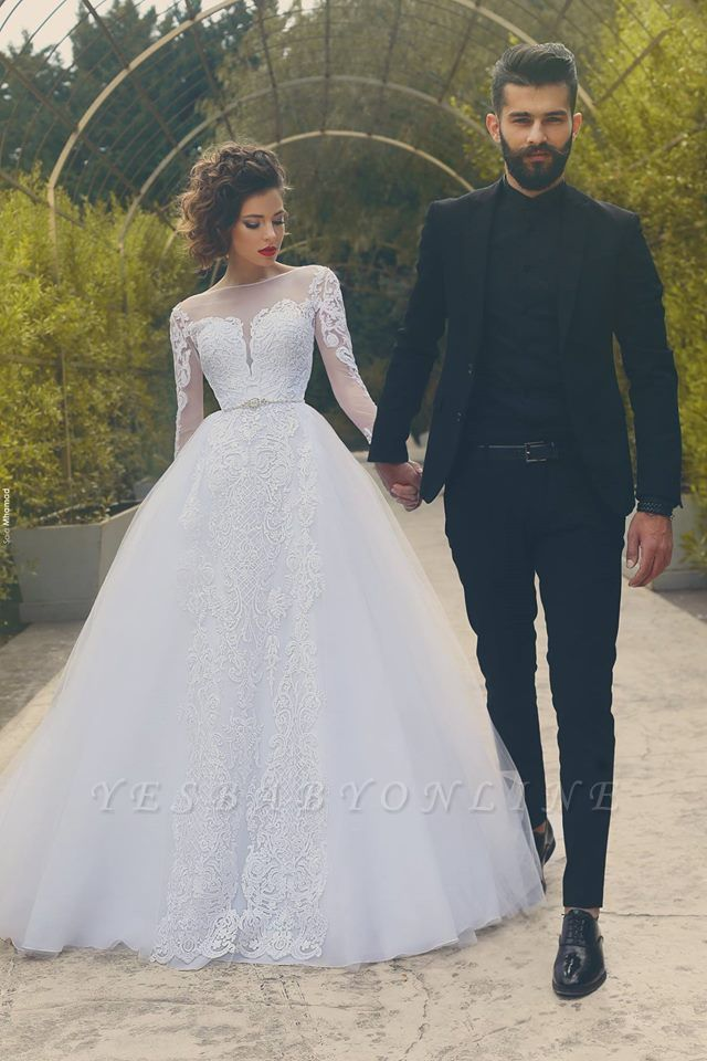 White Tulle Glamorous Crystal Appliques Long-Sleves Wedding Dress