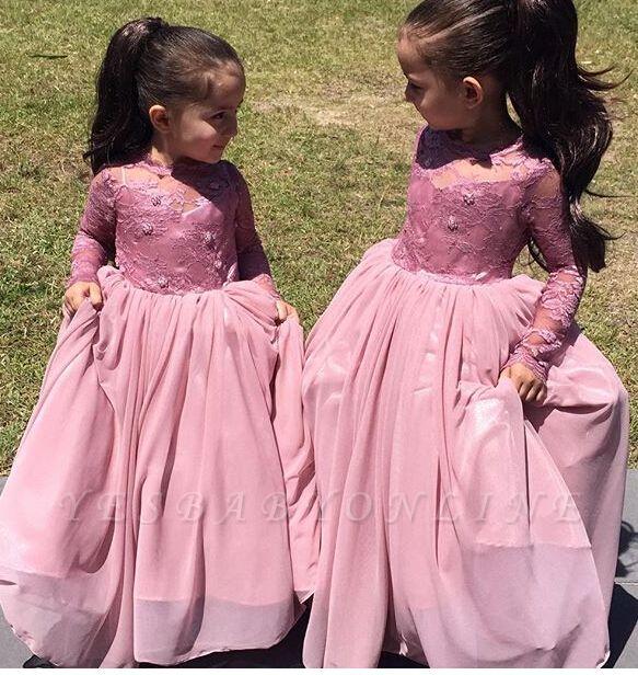 Affordable Pink Long Sleeves Flower Girl Dresses