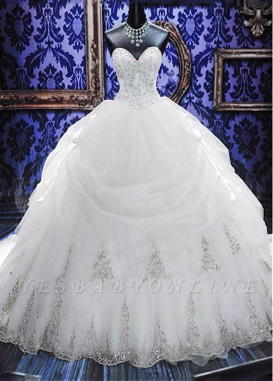 Fashion Court Train Puffy Beadeds Wedding Dress with Bowknot