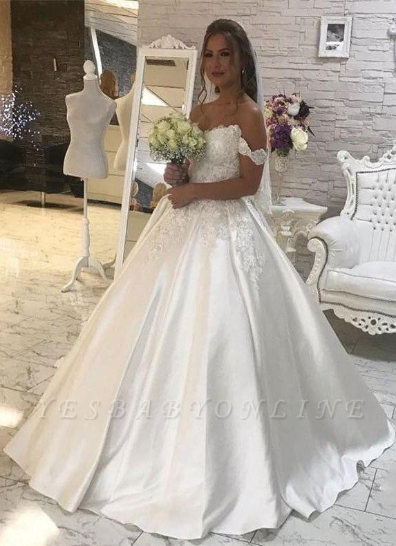Stylish Puffy Lace White Wedding Dress   Off-the-shoulder Bridal Dresses