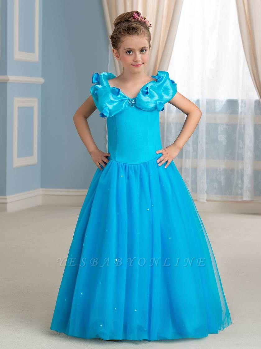 Cute A-Line Tulle Scoop Floor-Length Flower Girl Dress