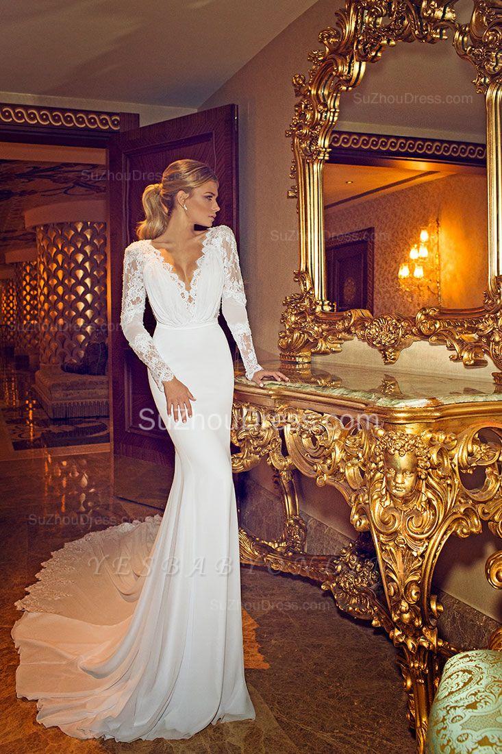 Chapel Train V-Neck Mermaid Wedding Dress | Long Sleeves Applique Open Back Bridal Dresses