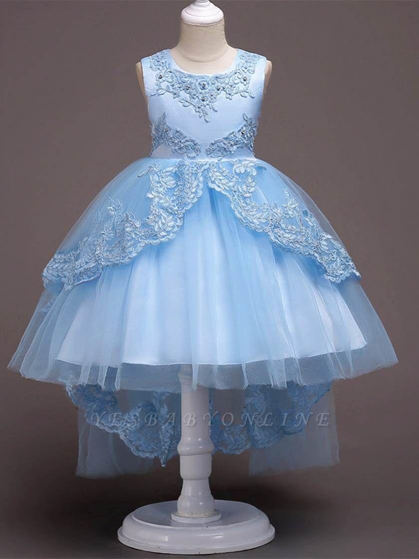 Cute A-Line Tulle Appliques Beading Tea Length Flower Girl Dress