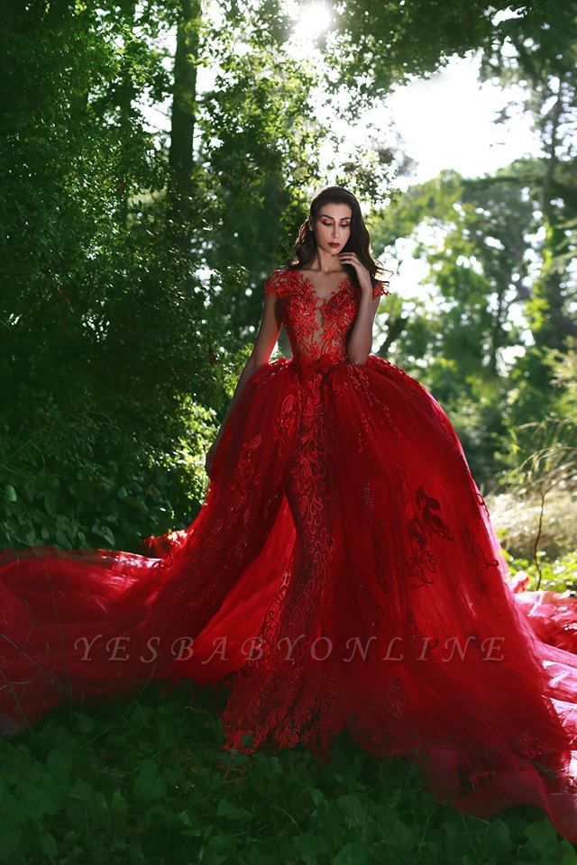 Red Glamorous Lace V-Neck Over-Skirt Applique Prom Dresses