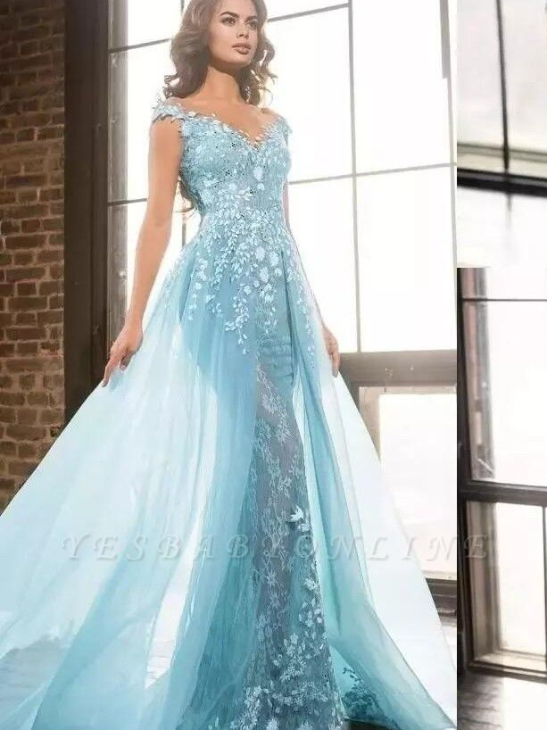 Elegant Straps Mermaid Evening Dresses | Sleeveless Appliques Prom Dresses