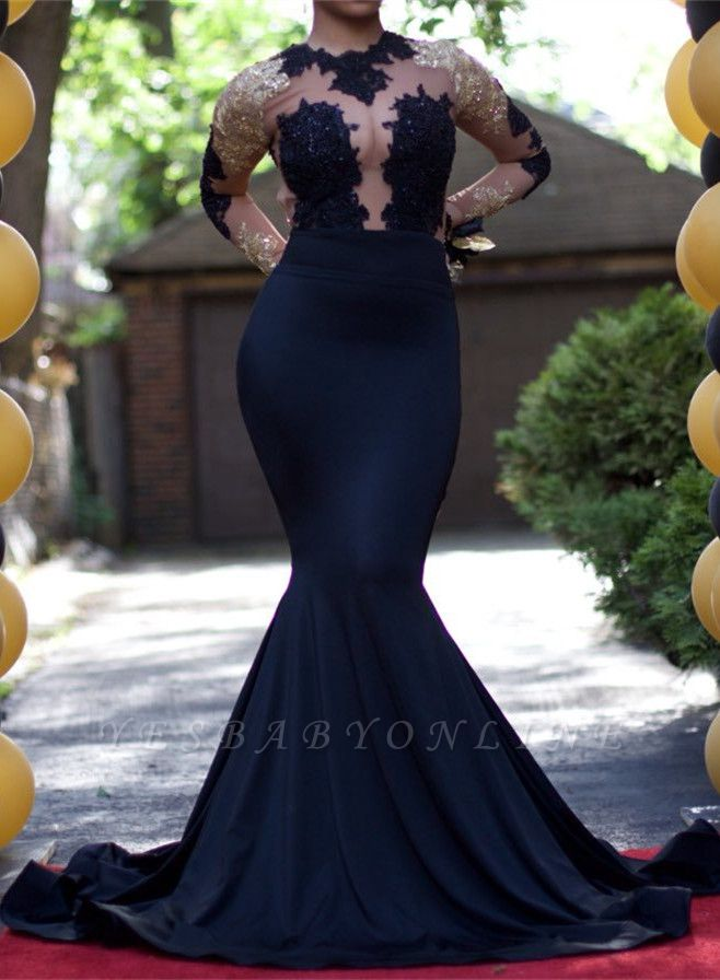 Gold and Black Prom Dresses Long Sleeves Sheer Lace Appliques Mermaid Sexy Evening Gowns