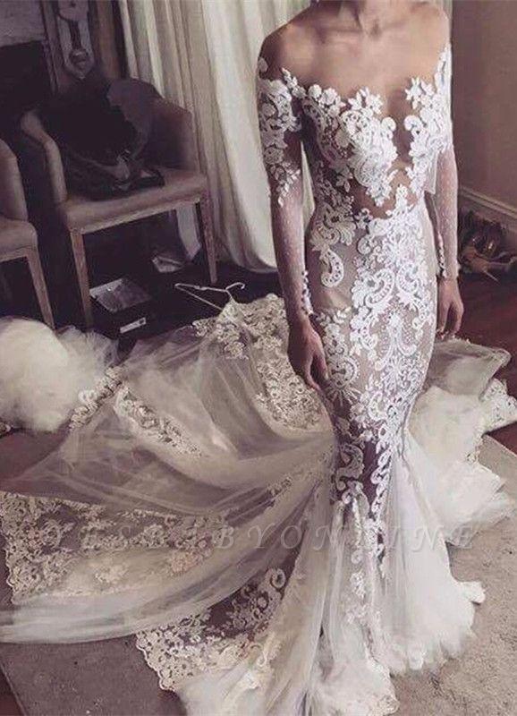 Long Sleeves Sexy Sheer Lace Appliques Mermaid Wedding Dresses