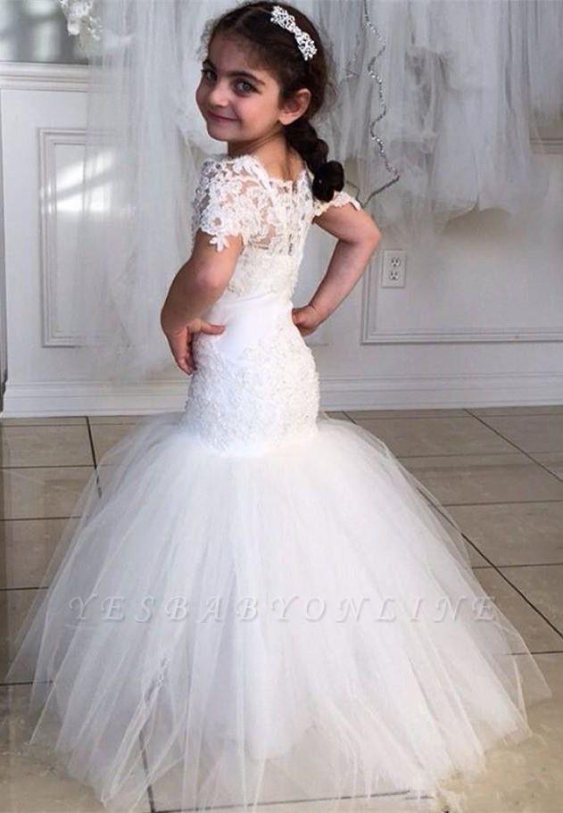 Lovely Short Sleeves Mermaid Children Dresses   Lace Mermaid Floor Length Flower Girl Dress BA2193