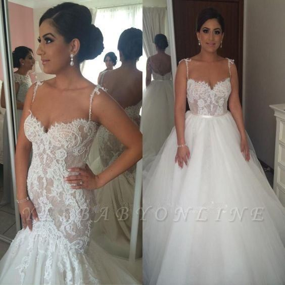 Gorgeous Spaghetti Strap Mermaid Lace Wedding Dresses
