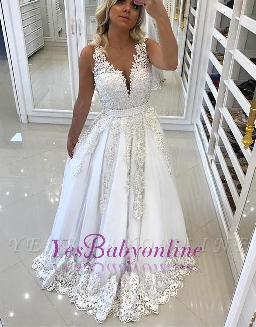 Pearls A-line White Bow Appliques V-neck Evening Dress