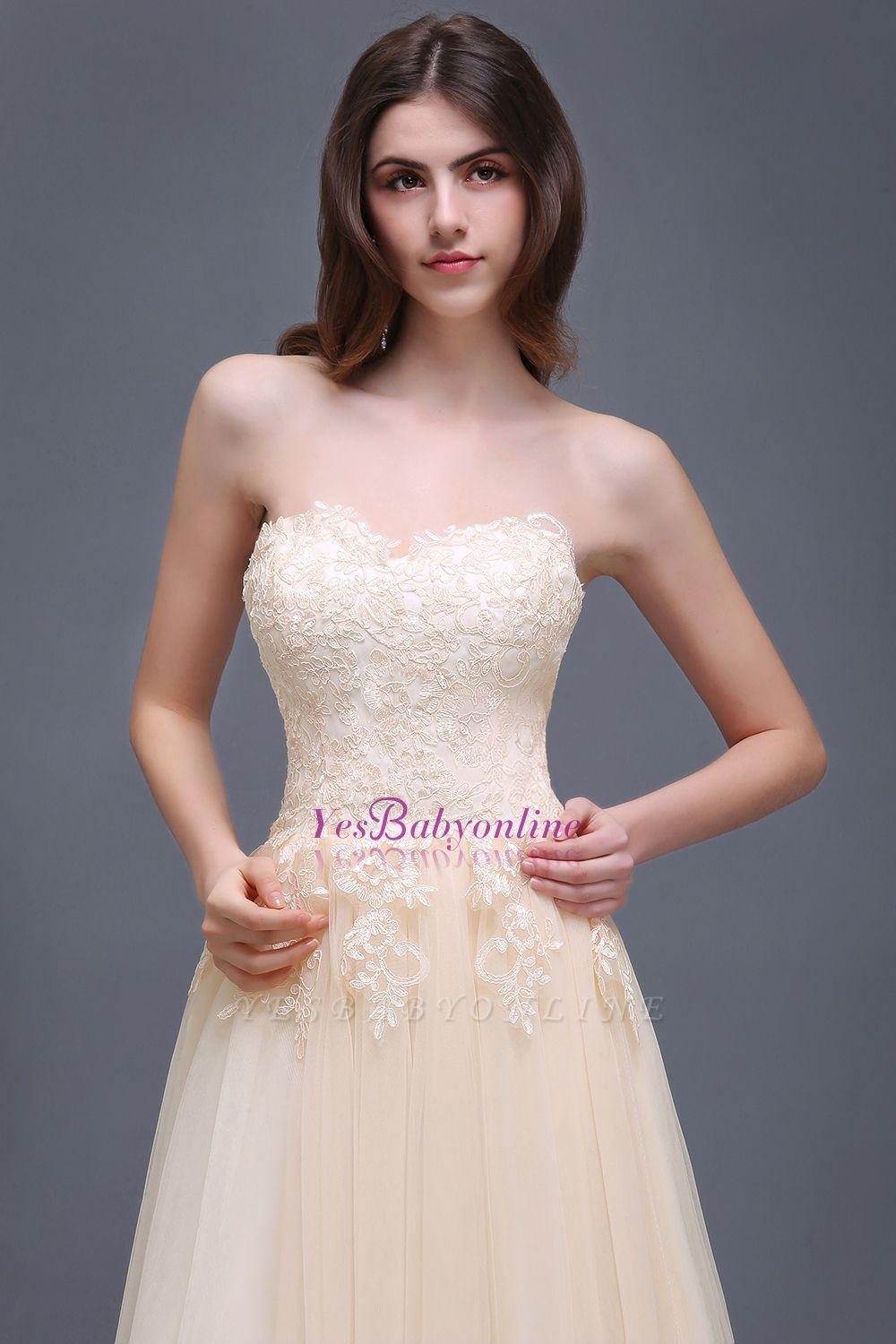 Princess Lace-Appliques Strapless Floor-Length Champagne  Evening Dress